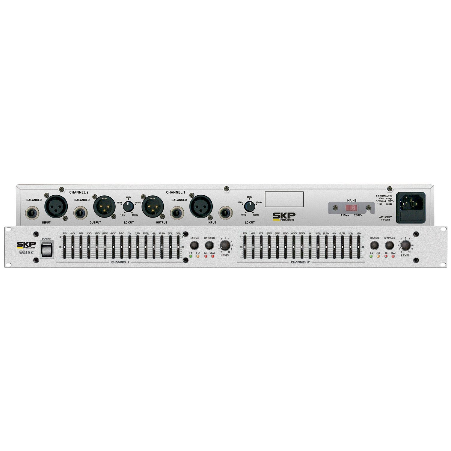 SKP PRO AUDIO EQ-152 GRAPHIC EQUALIZER 2x15 standard 2/3 octaves EQ/Bypass by SKP Pro Audio (Image #3)