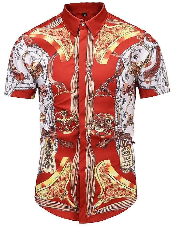 GenericMen Fashion Short Sleeve Digital Printing Button Down Shirt