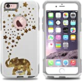 iPhone 6 Case White Happy Glass Elephant [Dual Layered] Protective Commuter Case for iPhone 6S White Case by Unnito