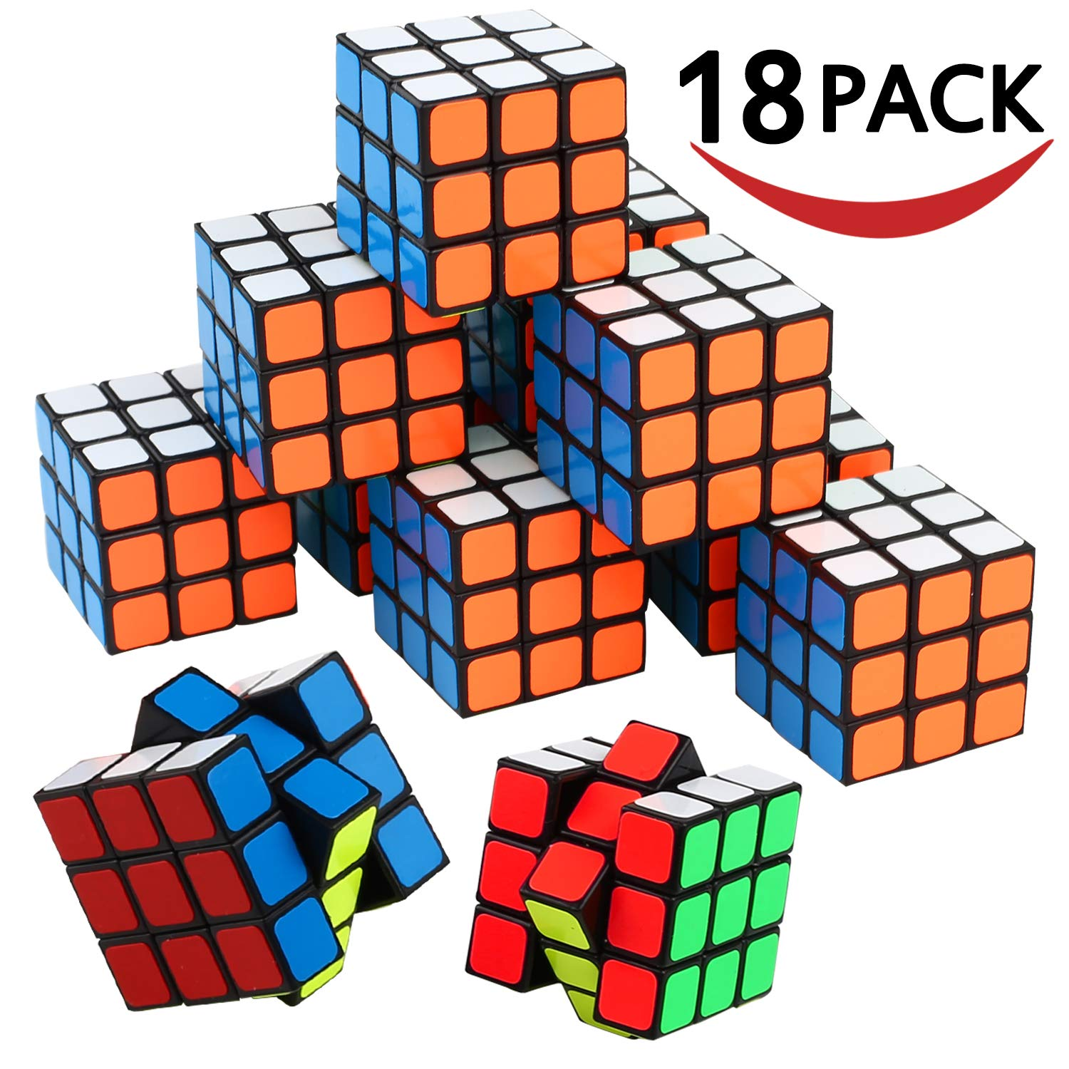 Mini Cube, Puzzle Party Toy(18 Pack), Eco-friendly Material with Vivid Colors,Party favor School Supplies Puzzle Game Set for Boy Girl Kid Child, Magic Cube Goody Bag Filler Birthday Gift Giveaway by KarberDirect
