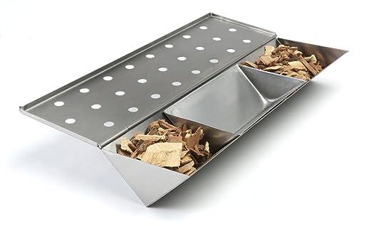 Haya y Roble 2 Tipos de virutas de Madera Amazy Caja ahumadora 2 brochetas Caja de Ahumado para Carne o Pescado Apta para lavavajillas