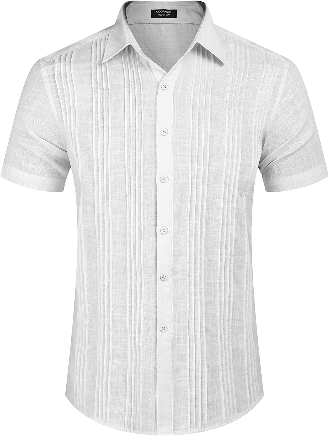 COOFANDY Men's Linen Guayabera Shirt with Pleats Short Sleeve Button Up Cuban Camp Shirts Beach Wedding Shirt