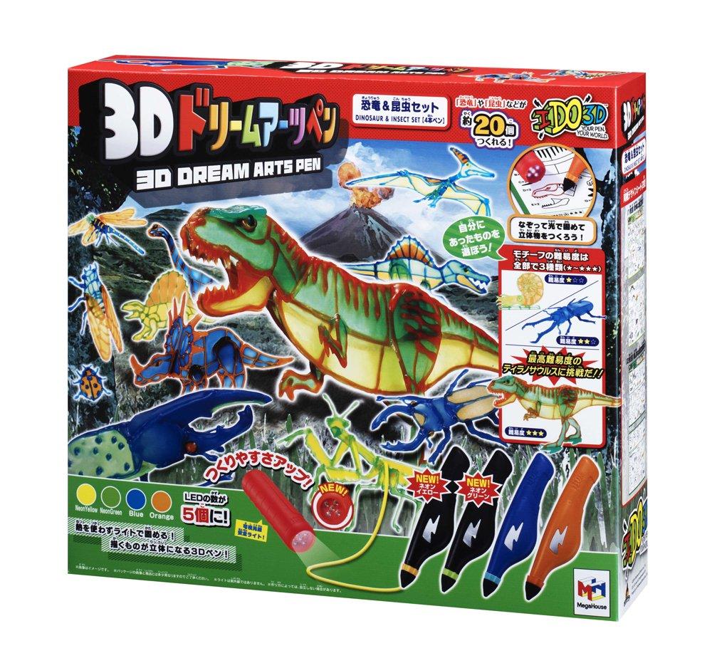 Lot de 4 stylos 3D Dream Arts dinosaures et insectes