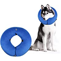 AOFU Dog Cone Collar Soft - Inflatable Dog Collars for After Surgery - Adjustable Protective Inflatable Dog Collar for Small Medium Large Dogs - Large(Blue)