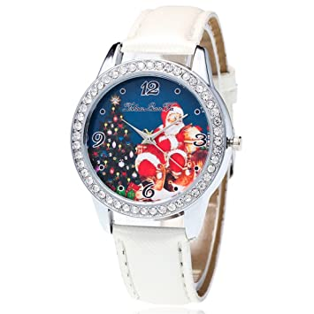 Souarts Womens Artificial Leather Christmas FatherTree Rhinestone Quartz Wrist Watch 22cm White