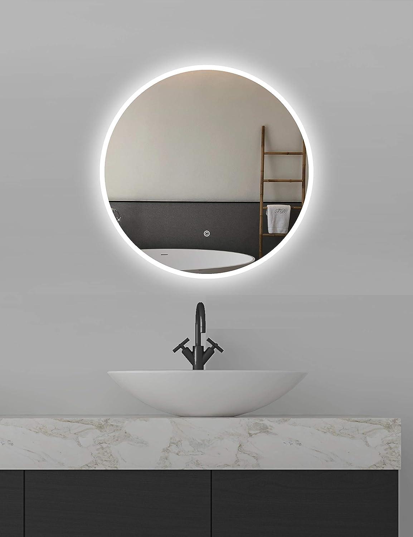 specchio da bagno con illuminazione risparmio energetico ApeJoy rotondo 60 cm specchio da bagno a LED rotondo 60 cm AJ01 con interruttore touch luce bianca fredda