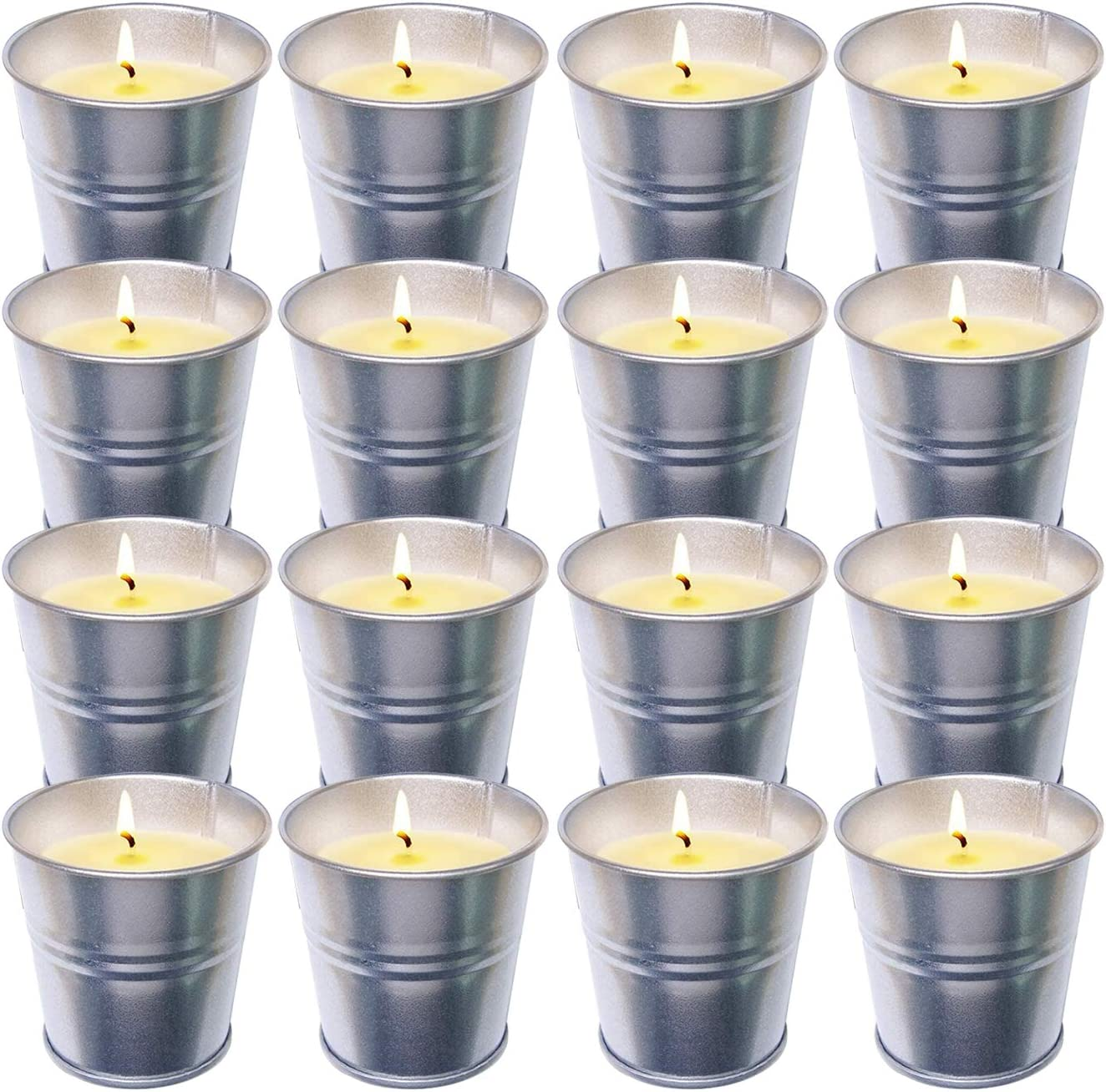 16 Packs Citronella Candles Outdoor Indoor, 16x 2 oz Outdoor Candles in Portable Travel Tin , 100% Natural Soy Wax Scented Candles for Patio/ Camping/ Garden/ Picnics, 15 Hours Burning
