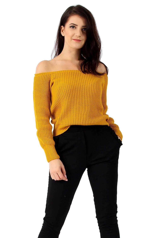 9052ea0e23ca Missi London New Womens Ladies Bardot Knitted Off Shoulder Long Sleeve  Jumper (Mustard