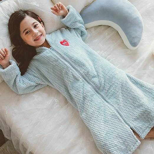 SJIUH Bata de Pijama,Chica Otoño Invierno Largo Cálido Albornoz de Franela para niñas Acogedor Bata de baño Cremallera Noche Bata Niños Ropa de Dormir Talla 6 8 10 12Y, 6: Amazon.es: Hogar