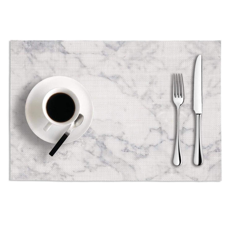 Octayi プレースマット 2枚セット 断熱 汚れにくい ダイニングテーブル用 ホワイト 大理石模様 ロックタイプ クロス織り ビニール 洗濯可能 テーブルマット One Size One Size ホワイトマーブル B07LF5VFW9