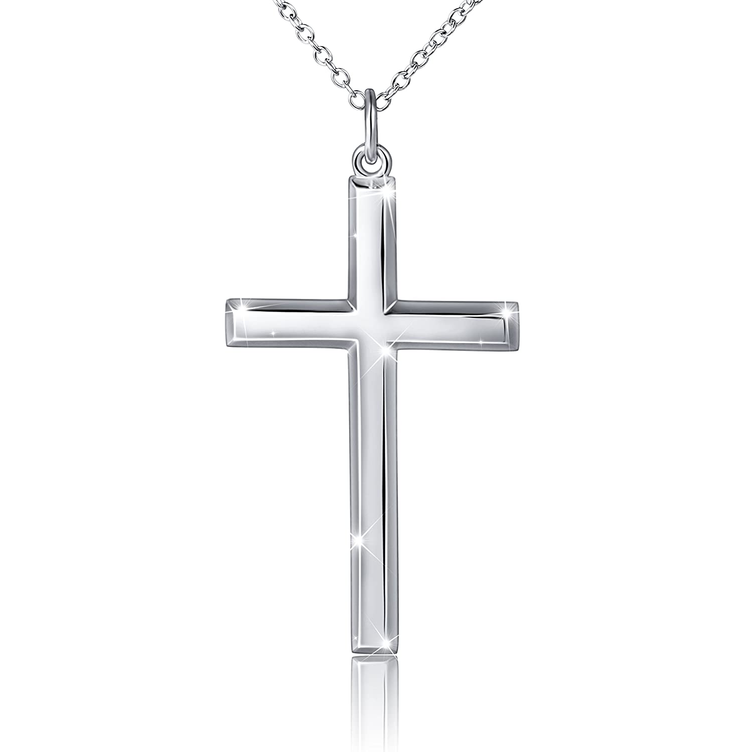 66dc219fc37c Father s Day Gift Men s 925 Sterling Silver Classic Cross Pendant Necklace
