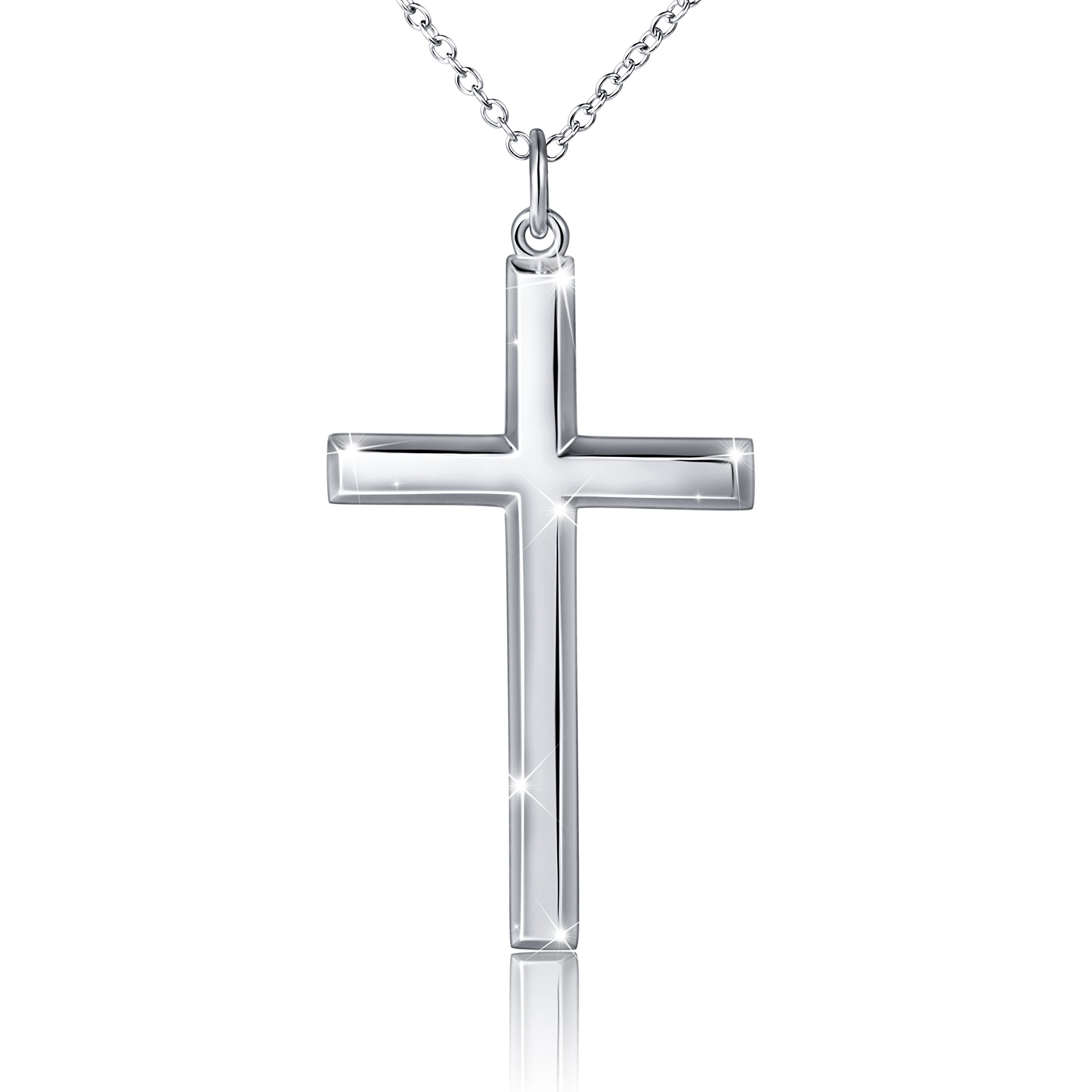 Men's S925 Sterling Silver Classic Cross Pendant Necklace 24'' Silver Chain
