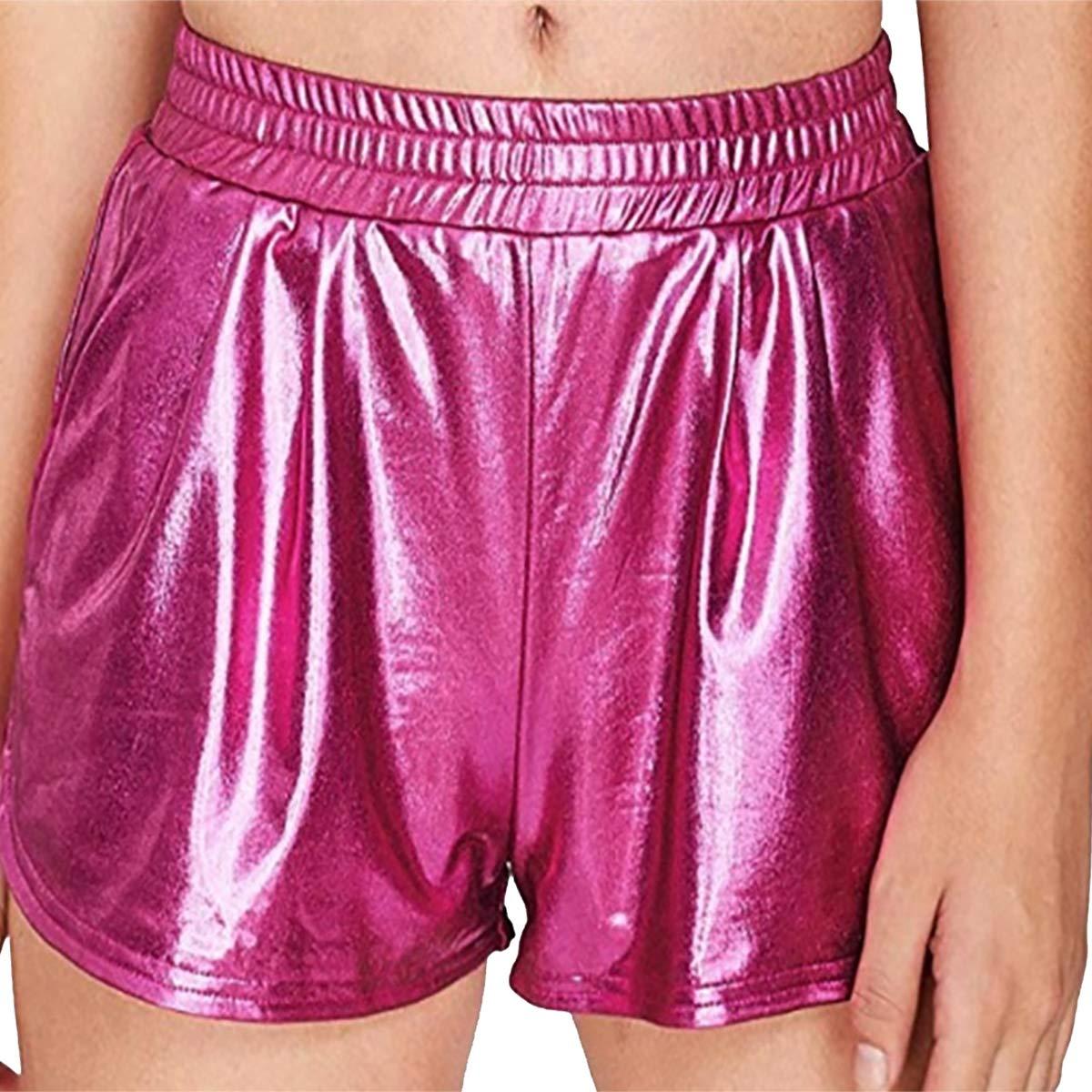 FYMNSI Womens Shiny Metallic Yoga Hot Shorts Casual Loose Elastic Waist Pants with Side Pockets