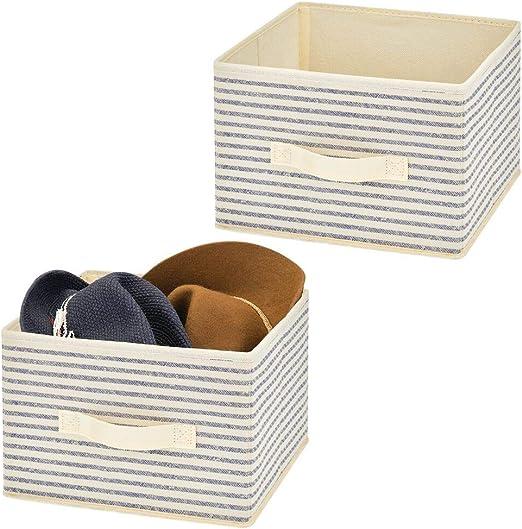 mDesign Juego de 2 organizadores para armarios en Tela – Cajas de Tela para ordenar armarios con diseño clásico – Cajas organizadoras para Ropa, Mantas, Accesorios y más – Crudo/Azul: Amazon.es: Hogar