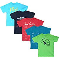 Elk Kids Boy's Round Neck Printed Half Sleeve 100% Cotton Green Blue Combo 5 Pieces