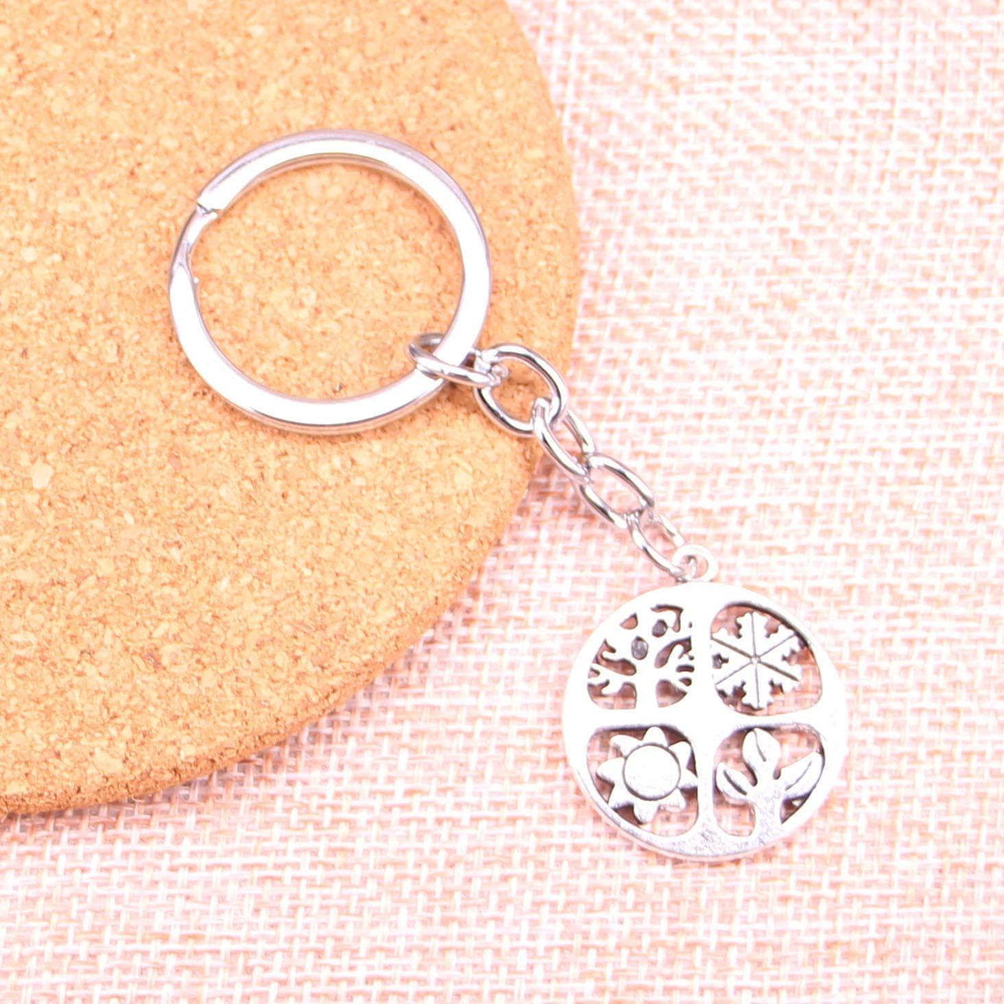 Vier Jahreszeiten Sommer Winter Schlüsselanhänger Anhänger Silber aus Metall