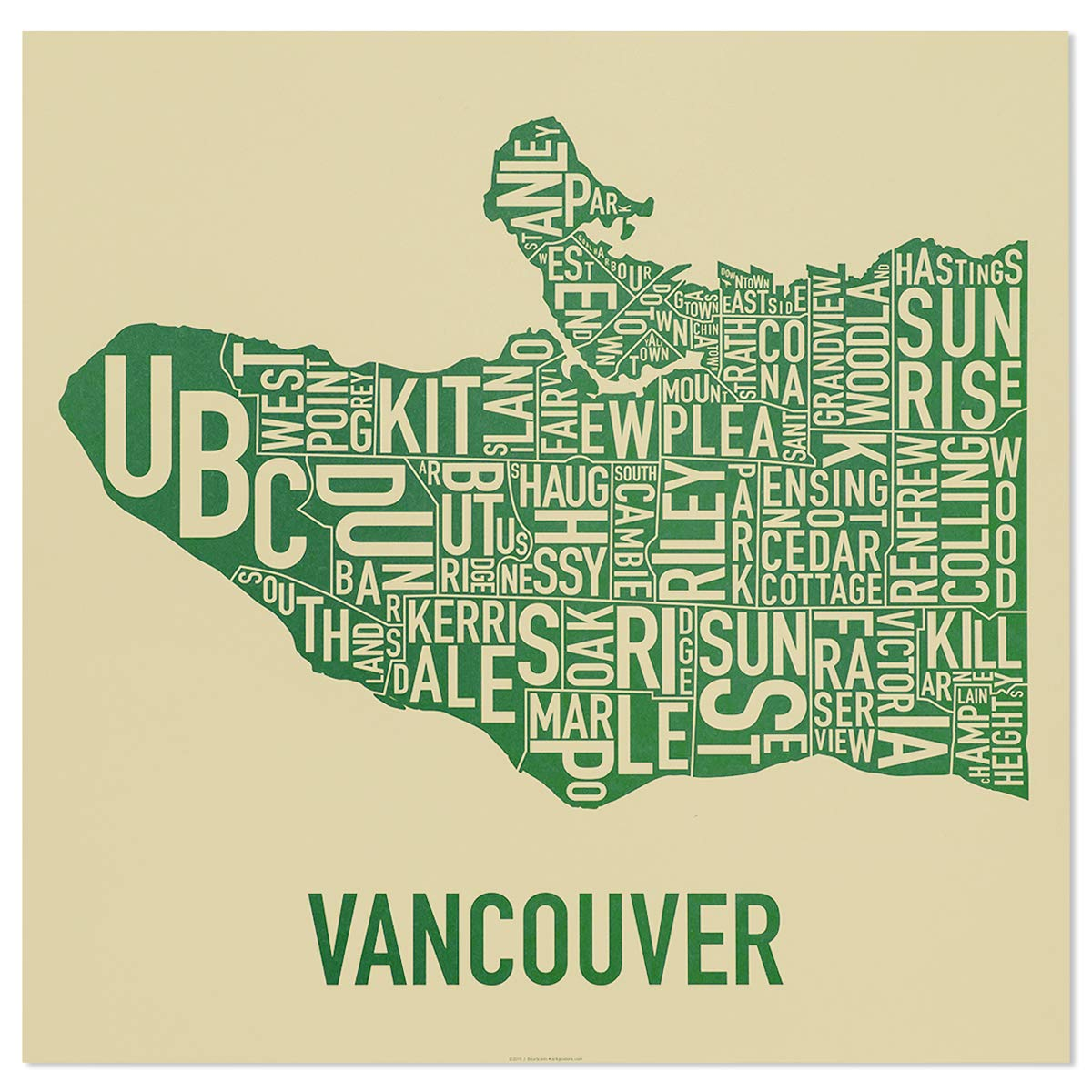 Amazon.com: Vancouver Barrios tipo Mapa cartel, Papel ...