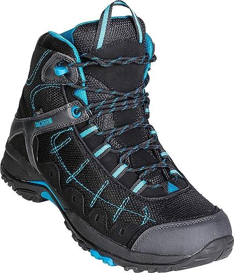Dachstein Trekkingschuhe hoch in Schwarz mit blauen Details, Bequeme Wanderstiefel für Damen & Herren, Wasserabweisende Boots, Hightech Wanderschuhe,