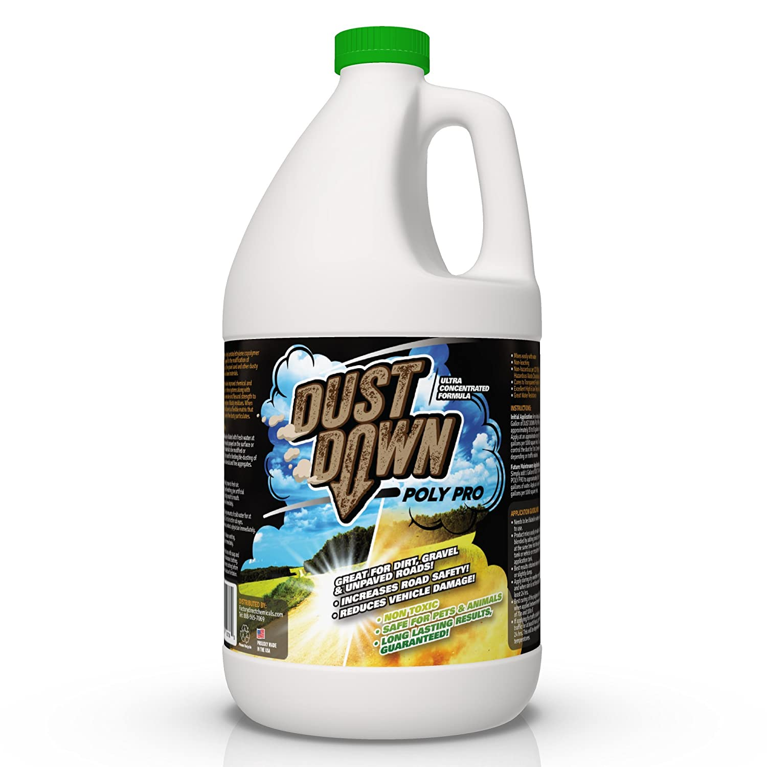 Green Gobbler Dust Down Poly PRO Polymer Road Dust Control | Dust Reducer for Driveway's, Roads & Construction Sites (1 Gallon)