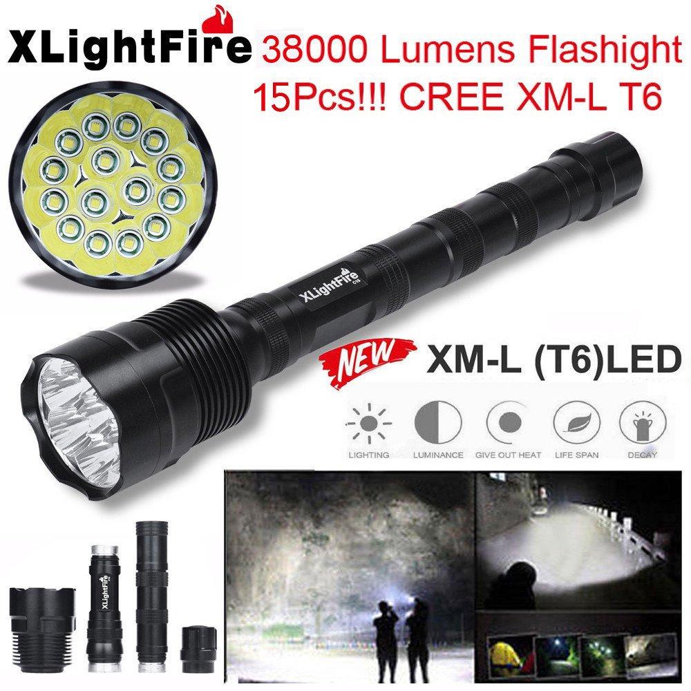 Heligen Super brillante XLightFire 28000 lúmenes T6 T6 T6 5 modo 18650 Super brillante linterna LED Flash (Negro-15) 15f711