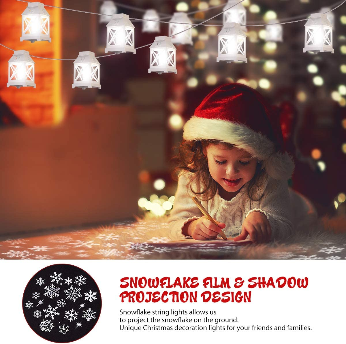 Christmas String Lights, Snowflake Projector Lights for Indoor Outdoor Lights Projection for Christmas Decor
