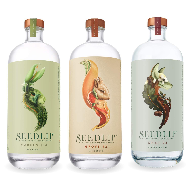 Seedlip Distilled Non-Alcoholic Spirits Sampler (3 Bottles) Grove 42, Spice 94, Garden 108 - 700 ML Each by SEEDLIP (Image #1)