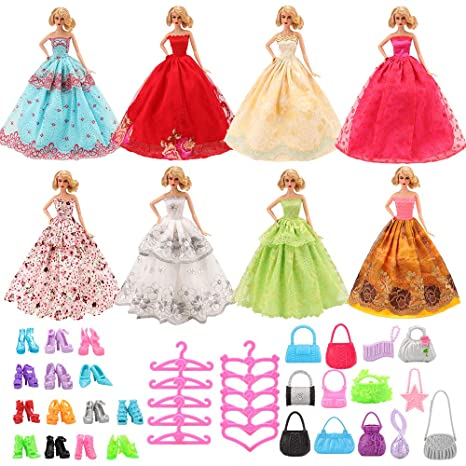 Miunana 37 Pezzi Accessori Per Bambola Barbie Dolls (7 Abiti Vestiti Da  Sposa + 10 db8d3b9c007