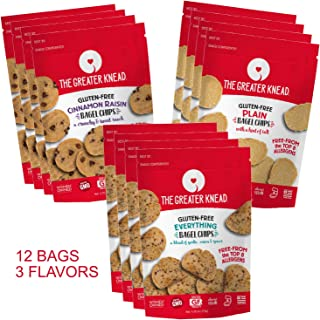 product image for Greater Knead Gluten Free Bagel Chips - Vegan, non-GMO, Free of Wheat, Nuts, Soy, Peanuts, Tree Nuts - Combo bags with Plain, Cinnamon Raisin, and Everything (12 bags)
