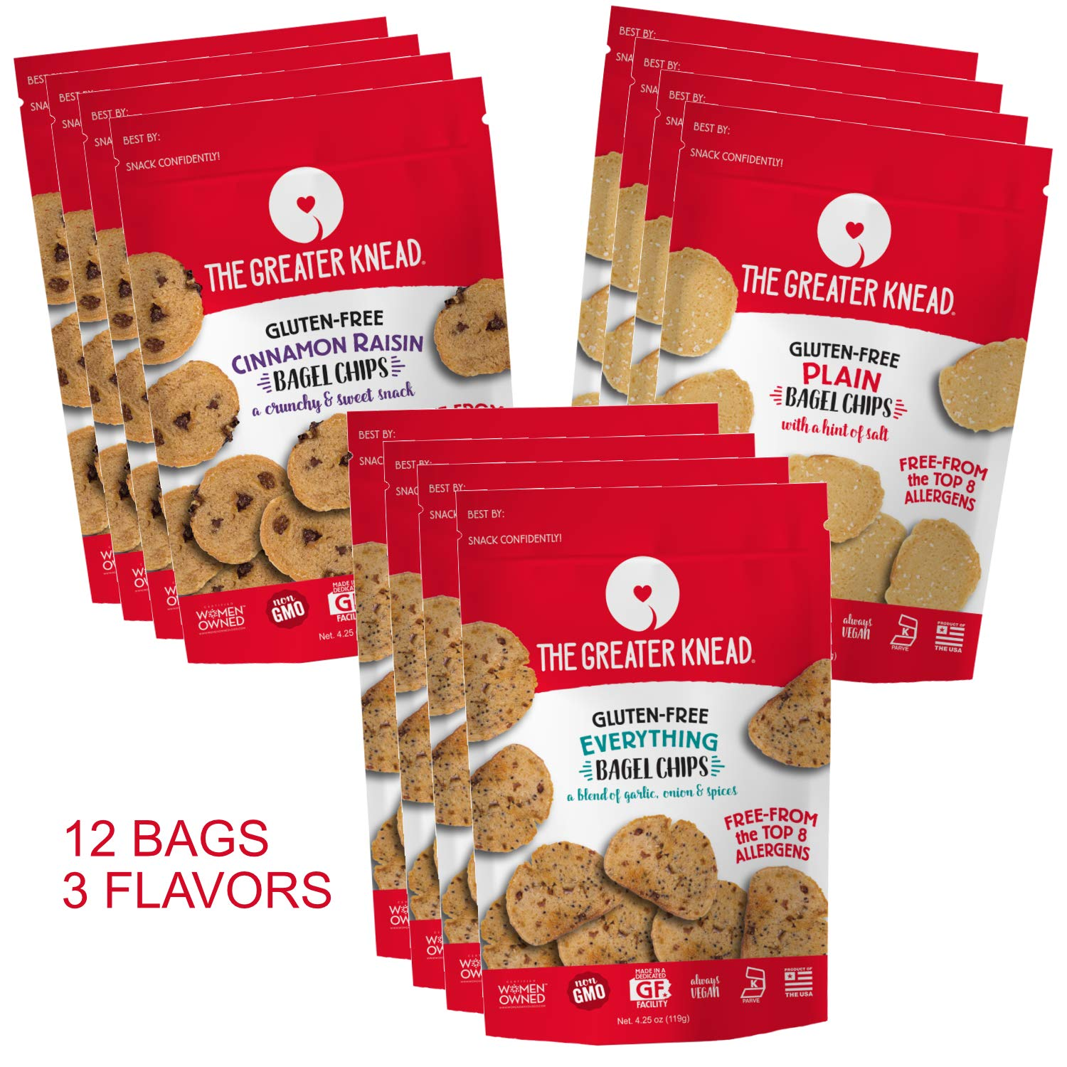 Greater Knead Gluten Free Bagel Chips - Vegan, non-GMO, Free of Wheat, Nuts, Soy, Peanuts, Tree Nuts - Combo bags with Plain, Cinnamon Raisin, and Everything (12 bags) by The Greater Knead