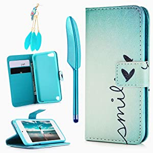 iPod Touch 5 Case, Touch 6 Case, Stand Wallet Purse Credit Card ID Holders Magnetic Smile Love Bule Sky Design PU Leather Ultra Slim Fit Flip Folio Cover for iPod Touch 5/6