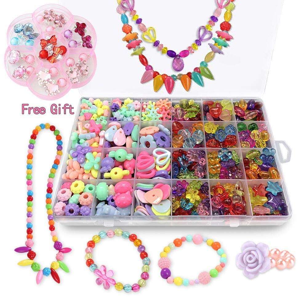 Bead Kits for Jewelry Making Craft Beads for Kids Girls Jewelry Making Kits Colorful Acrylic Girls Bead Set Jewelry Crafting Set with Clip on Earrings1