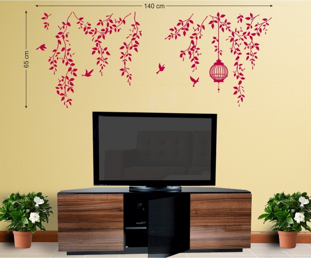 Buy Decals Design \'Hanging Vines with Cage and Birds\' Wall Sticker ...