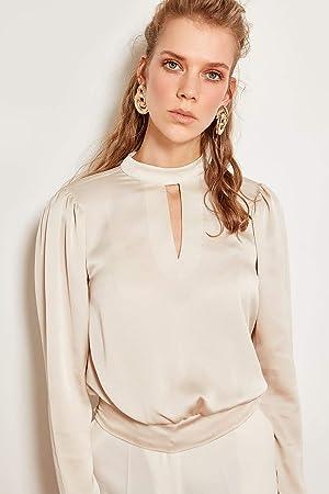 LFMDSY Camisa de Las Mujeres Casual Elegancia Cuello Beige Blusa de satén TOFSS19XO0017: Amazon.es: Deportes y aire libre