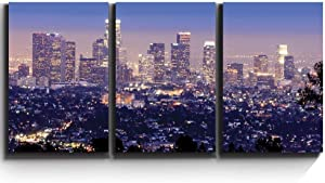 "wall26 - Los Angeles Skyline Evening - Canvas Art Wall Art - 16""x24""x3 Panels"