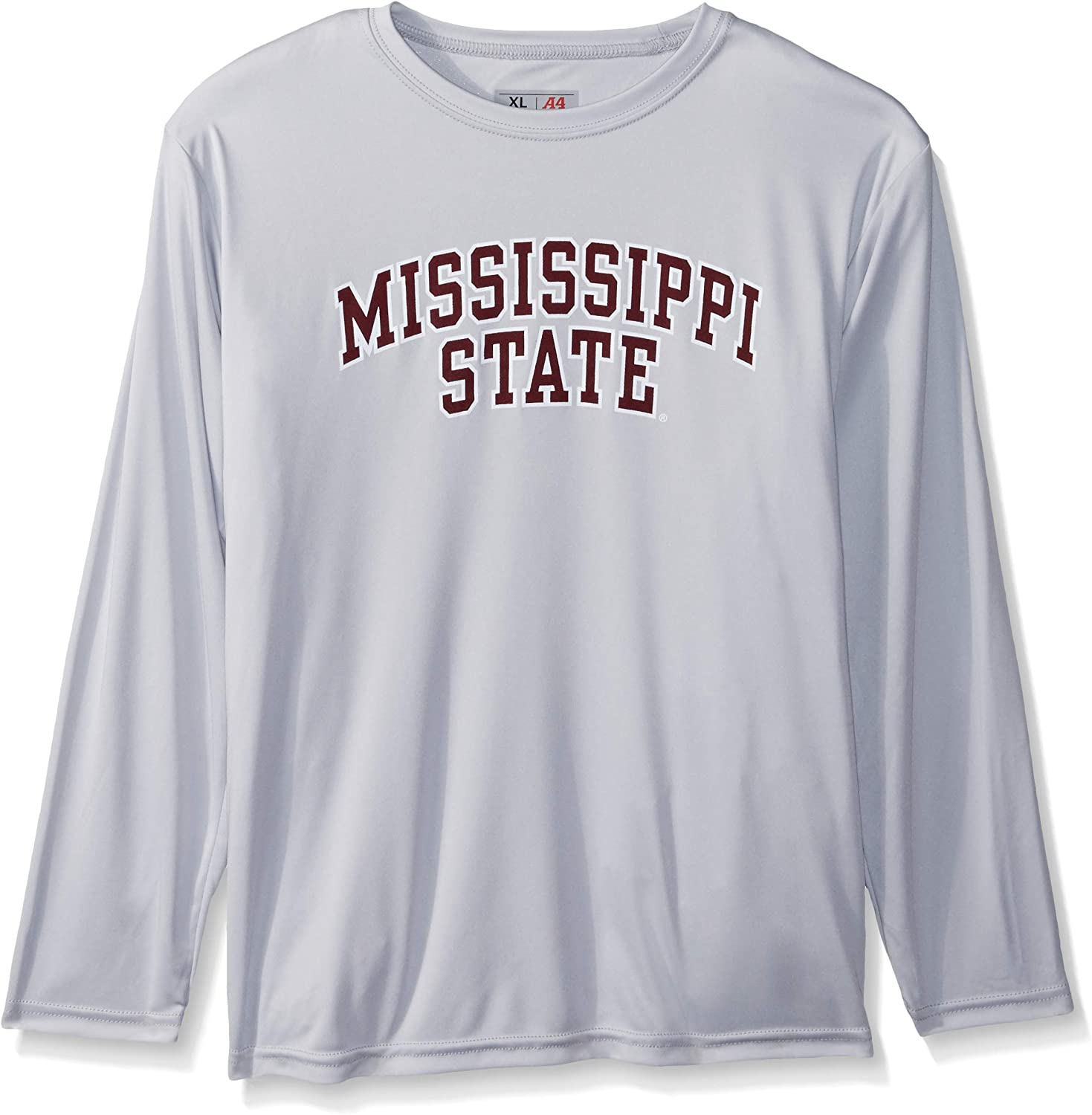 Silver Medium Ouray Sportswear NCAA Mississippi State Bulldogs Youth Performance L//S Tee