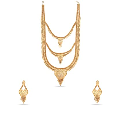 087079d32cba9 Buy Kalyani Covering 21K Gold Plated 3 Step Long Necklace Set for ...