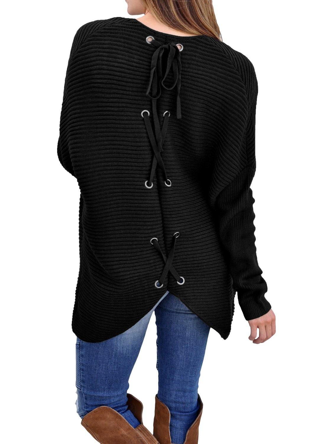 Elapsy Womens Casual Ribbed Knit Open Front Cardigans Lace up Back Outwear Sweater Knitwear WQ27855