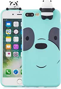 Soft Silicone Case for iPhone 7 Plus/8 Plus 5.5 inch,Aoucase Slim Thin 3D Animals Pattern Gel Rubber Drop Protection Protective Case with Black Dual-use Stylus,Blue Bear