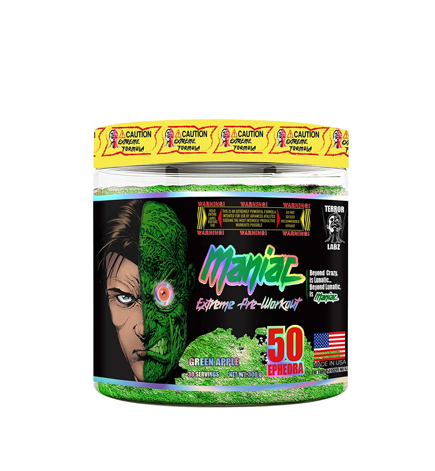Maniac, Extreme Pre-Workout, Gaming Fuel Energy, Generates Crash Free Energy, Enhances Reaction Time Elevates Cognition, Made in USA with American Ingredients