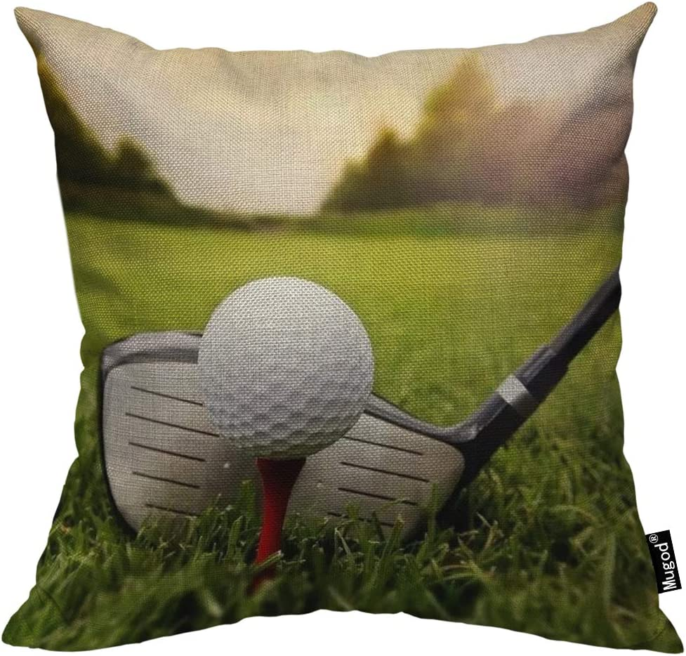 Mugod Play Golf Throw Pillow Golfball Golf Club on Grassland Red White Black Green Cotton Linen Square Cushion Cover Standard Pillowcase 18x18 Inch for Home Decorative Bedroom/Living Room/Car