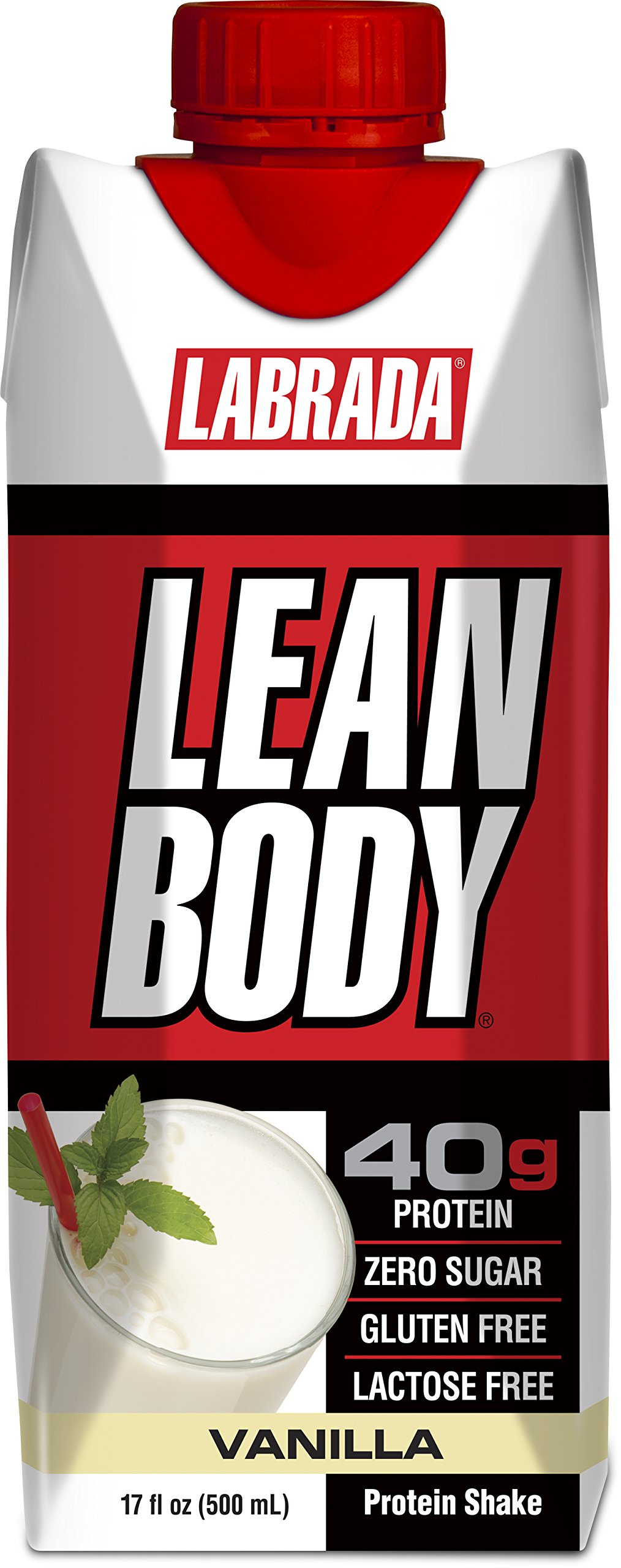 LABRADA - Lean Body Ready To Drink Whey Protein Shake, Convenient On-The-Go Meal Replacement Shake for Men & Women, 40 grams of Protein – Zero Sugar, Lactose & Gluten Free, Vanilla (Pack of 12)