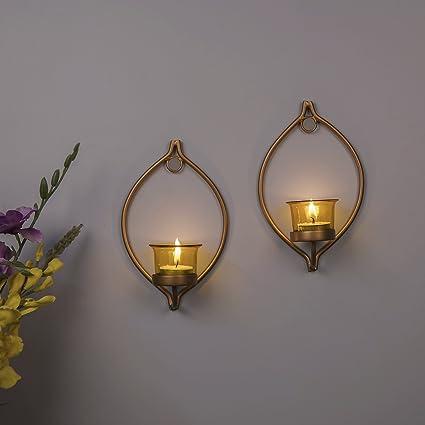 Buy Homesake Set Of 2 Decorative Golden Eye Wall Sconcecandle