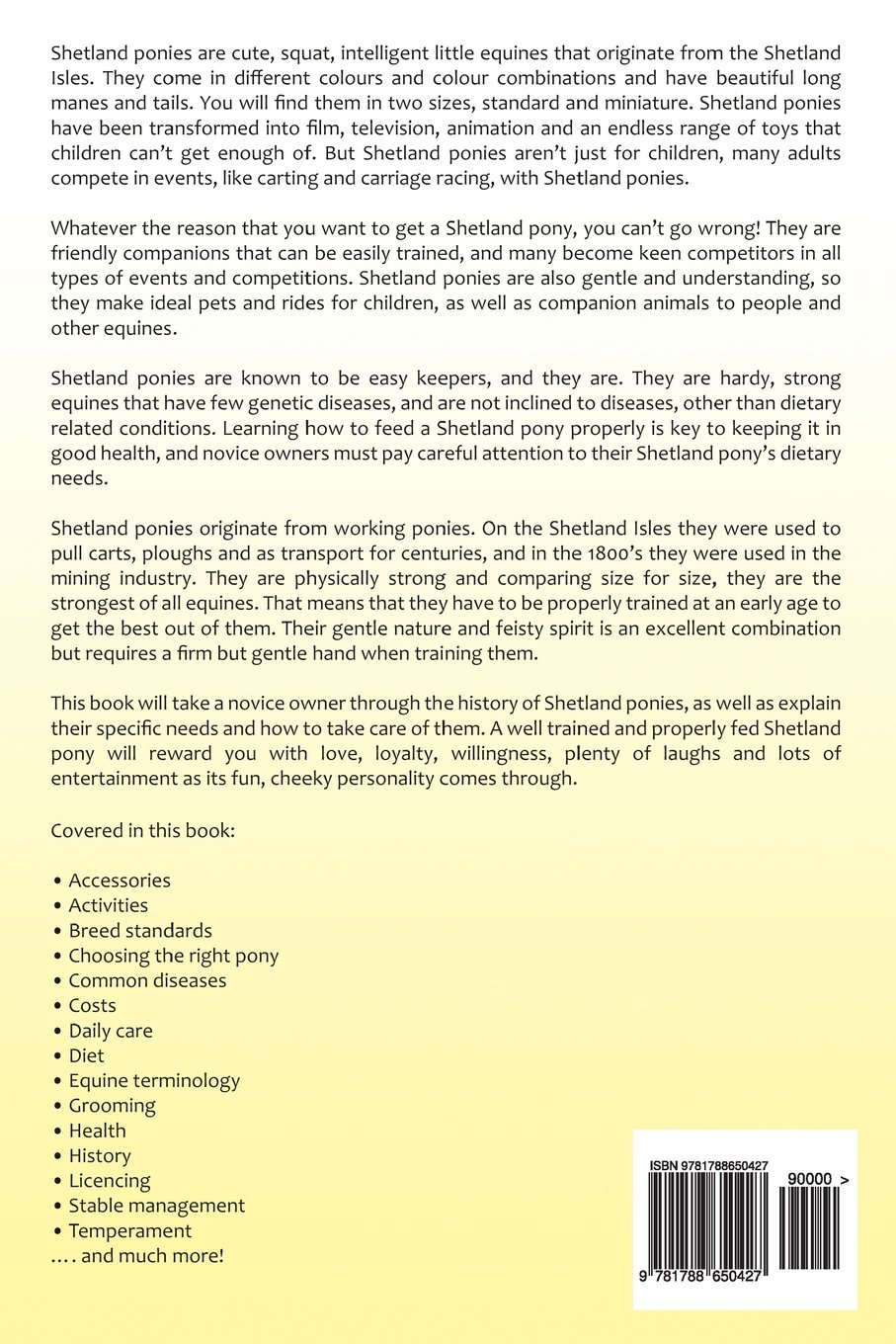 Shetland Pony Owner's Manual. Shetland Pony book for care, costs, health,  diet and grooming.: Amazon.co.uk: Emily Peterson: 9781788650427: Books