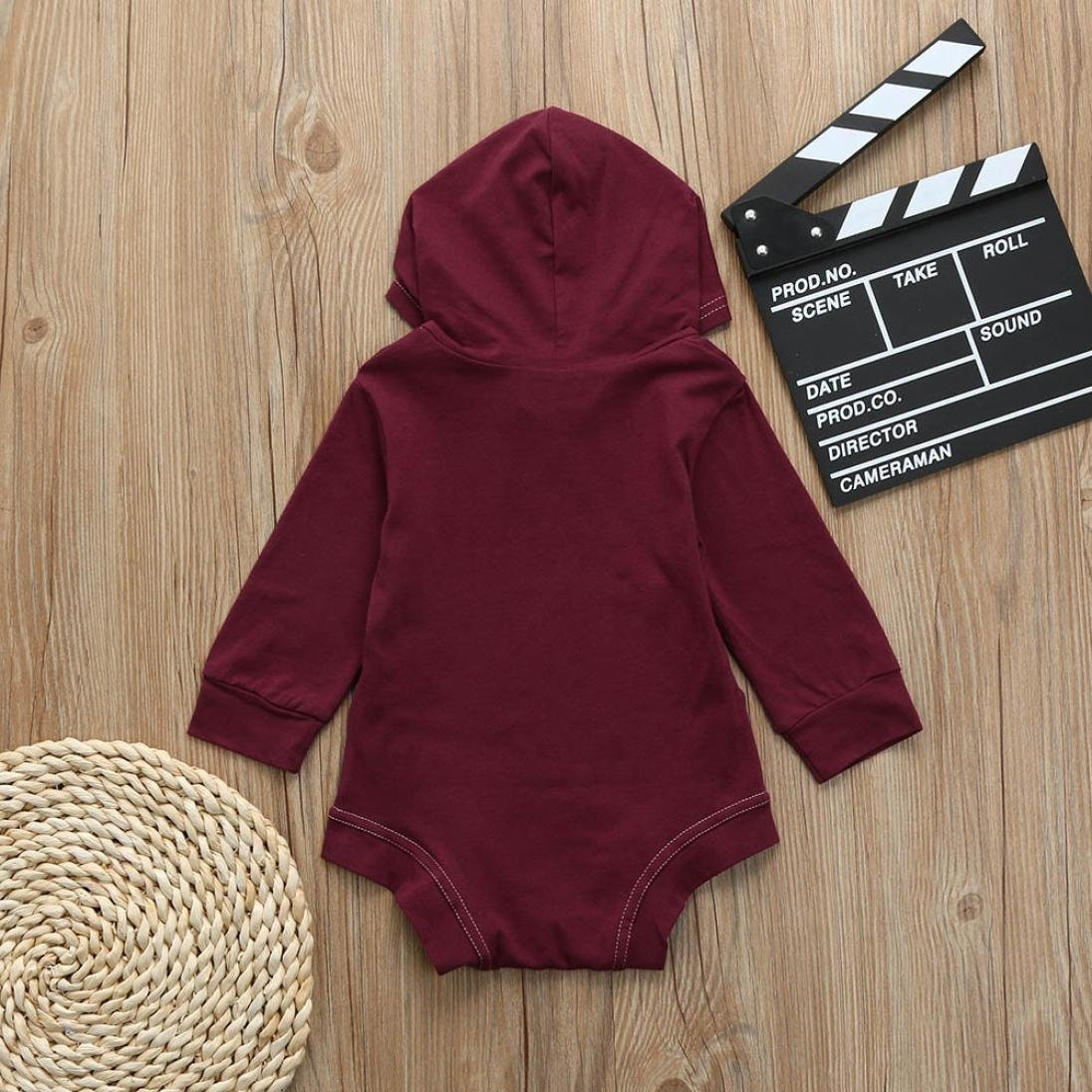 iumei Baby Unisex Spring Clothes 2 Color Long Sleeve Hoodies Bodysuit Jumpsuit with Pocket