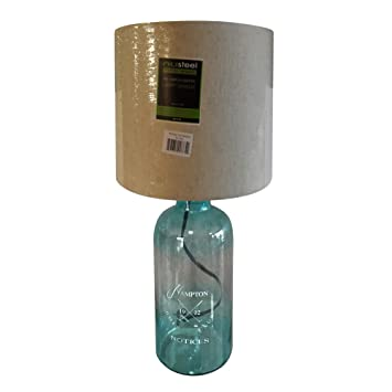 Aqua Glass Decorative Table Lamps With White Shade