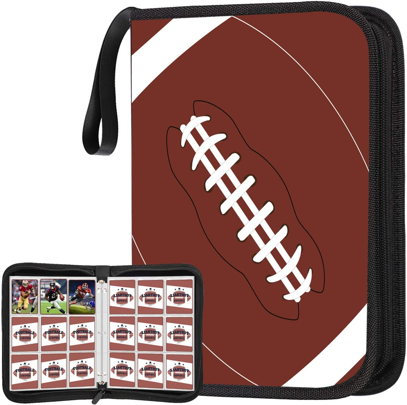CLOVERCAT Double Sided 50 Pages 4 Pockets Card Binder for Sport Trading Cards Display Case with Sleeves Card Holder Protectors Set for Sports Card Holds 400 Cards Football Brown