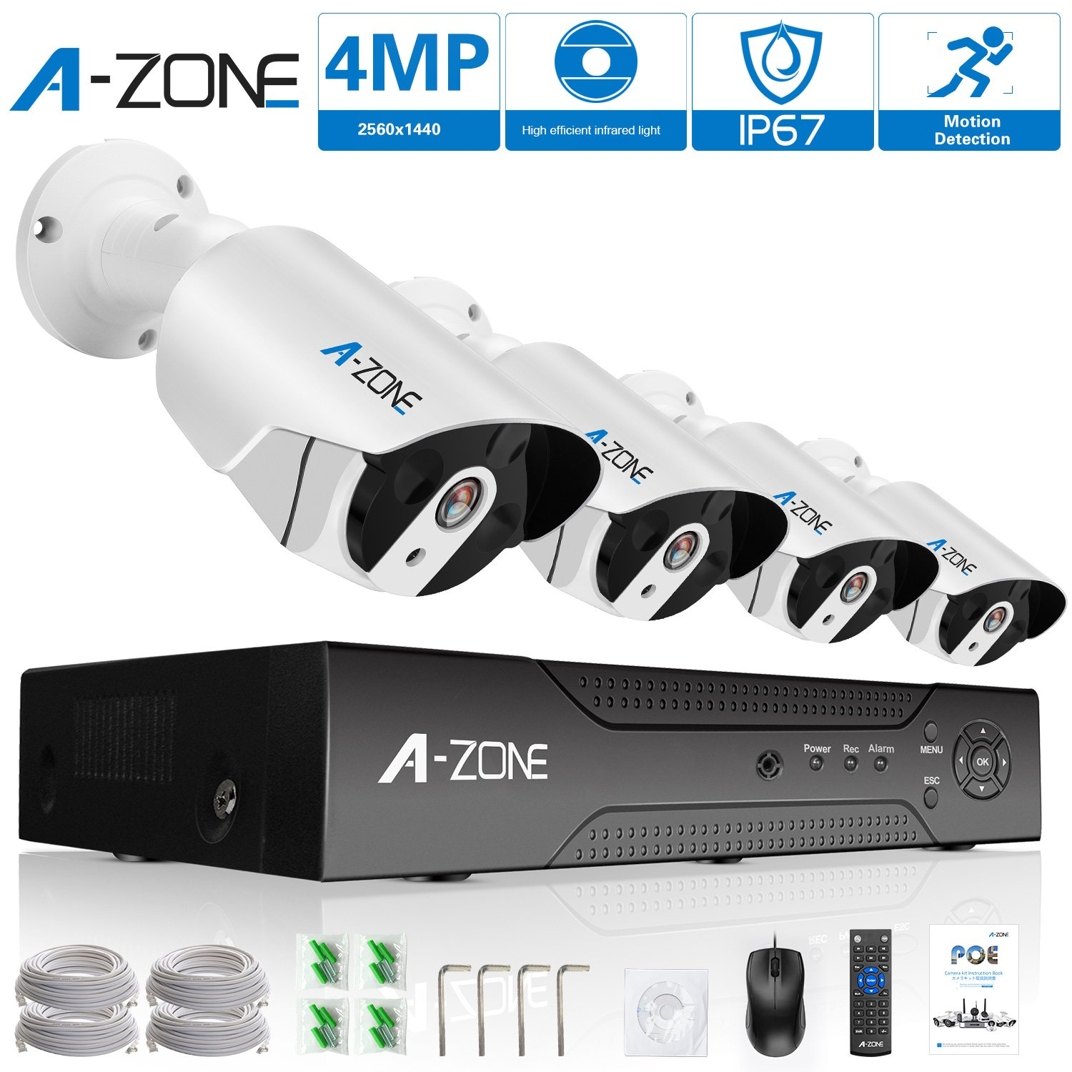 Security Camera System, A-ZONE Home PoE IP Security Camera System 4 Megapixels Super HD 2560x1440 4 Channel NVR with 4 Bullet IP Cameras 24/7 Recording,without HDD