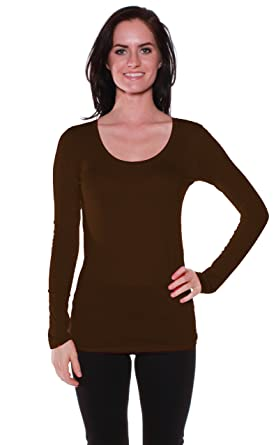Amazon.com: Active Basic Womens Plain Basic Deep Scoop Neck Long ...