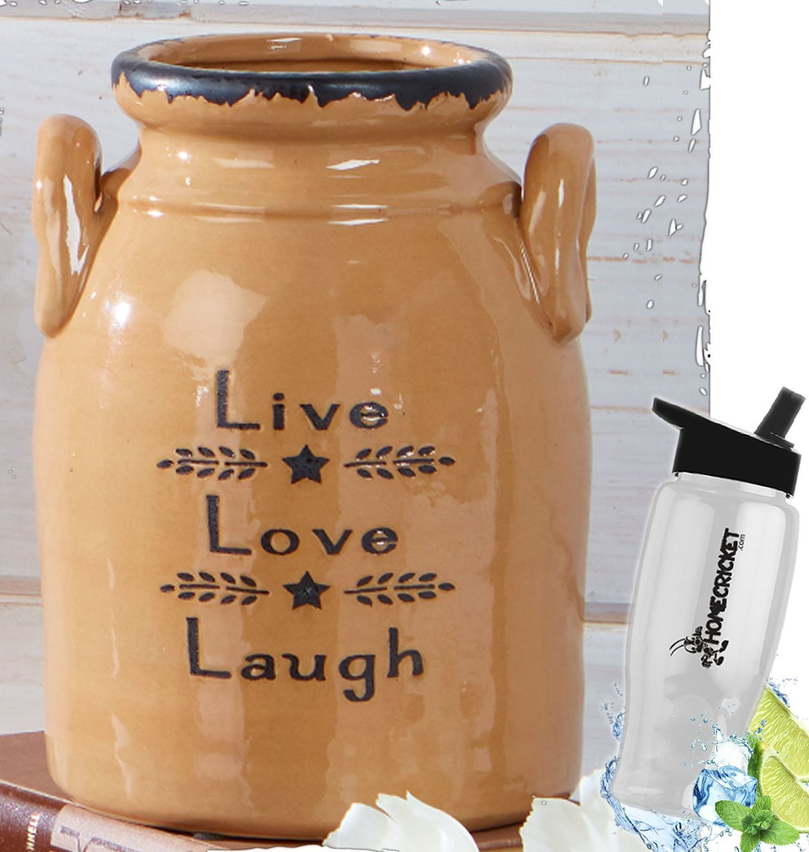 Gift Included- Decorative Farmhouse Country Kitchen Primitive Utensil Crock or Flower Vase Live Love Laugh+ FREE Bonus Water Bottle by Homecricket