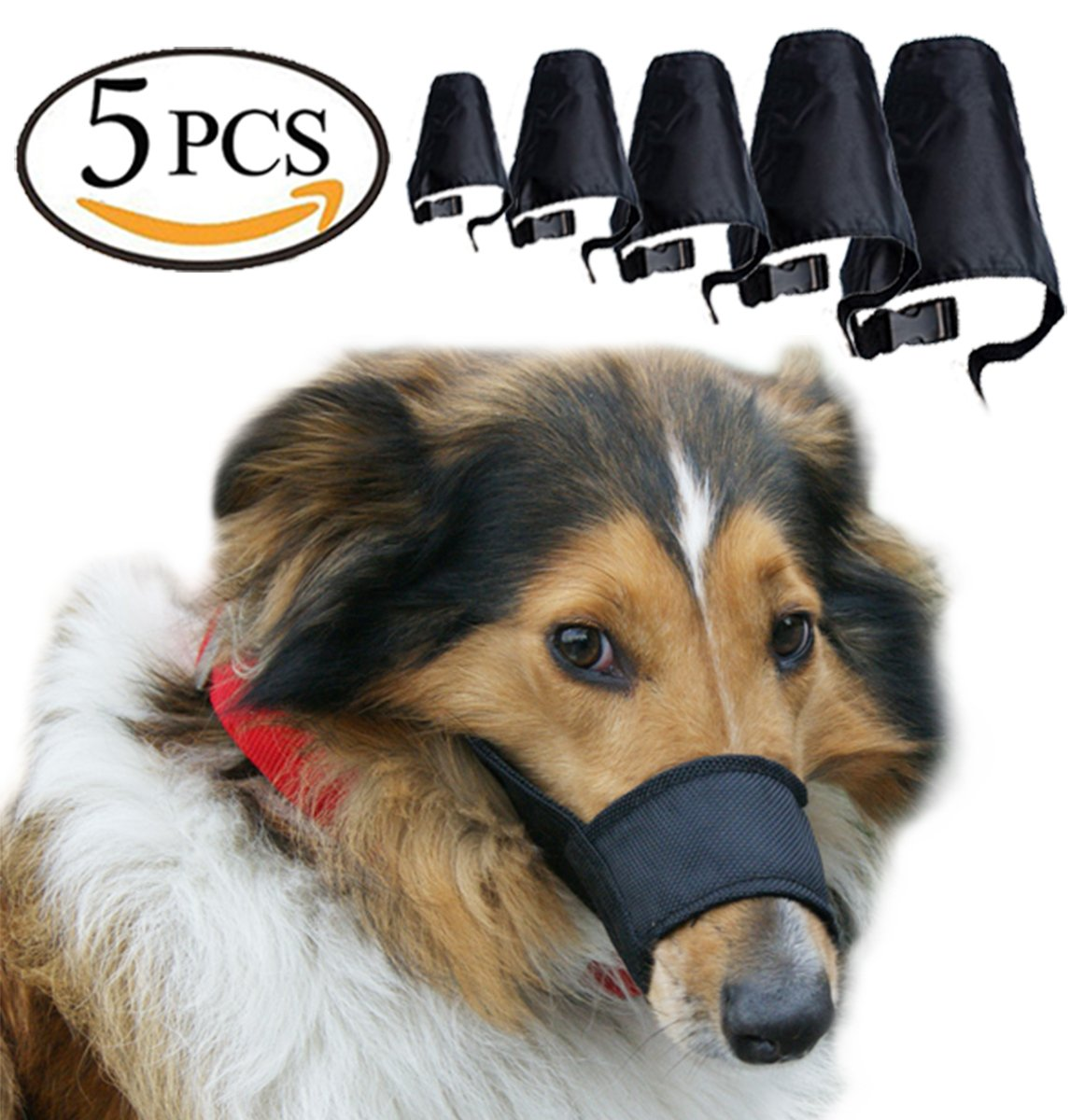 Black 5 Size Black 5 Size Avivnor Dog Muzzle Suit 5Pcs Set Adjustable Breathable Soft Muzzle Anti-Barking Chewing Safety Predection for Small Medium Large Extra Dog